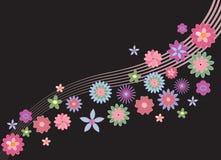 Hippies background. Happy background, hippie flowers on a dark background in motion Vector Illustration