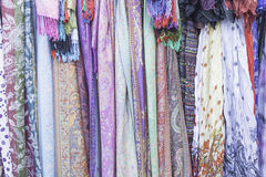 Hippies scarves. Scarves hippies in market accessories, fashion Royalty Free Stock Image