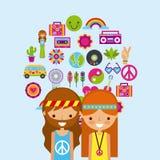 Hippies scenery cartoon. Icon vector illustration design graphic Stock Photography