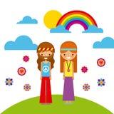 Hippies scenery cartoon. Icon vector illustration design graphic Stock Image