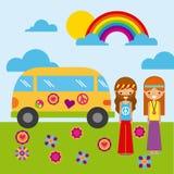 Hippies scenery cartoon. Icon vector illustration design graphic Stock Photo