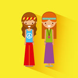 Hippies scenery cartoon Royalty Free Stock Images