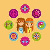 Hippies scenery cartoon. Icon vector illustration design graphic Royalty Free Stock Photo