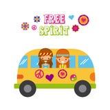 Hippies scenery cartoon Royalty Free Stock Photo