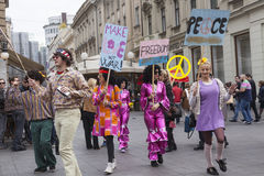 Hippies. Street art performers dressed as a hippies Stock Images