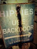 Hippies :). Why back door we ask Royalty Free Stock Photo