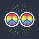 Hippiesolglasögon med regnbågelinser och fredtecknet glad stolthet vektor illustrationer