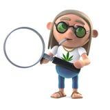 hippiestoneren för tecknade filmen 3d har ett förstoringsglas royaltyfri illustrationer