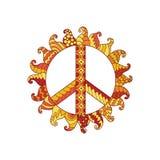 Hippieweinlese-Friedenssymbol in zentangle Art Stockfoto