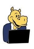 Hippo και ένα lap-top 1 Στοκ Φωτογραφία