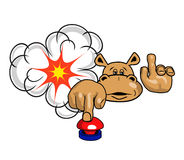 Hippo και κόκκινο κουμπί Στοκ Φωτογραφία