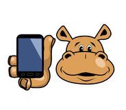 Hippo και τηλέφωνο Στοκ φωτογραφία με δικαίωμα ελεύθερης χρήσης