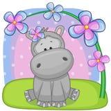 Hippo με τα λουλούδια διανυσματική απεικόνιση