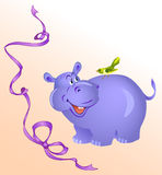 Hippo. Funny hippo in a baby image.On his back sat a little bird.The purple ribbon on a background.Additionally, a vector EPS format Royalty Free Stock Image