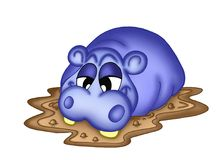 Hippo. Illustration of blue hippo resting in mud vector illustration
