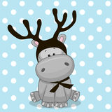 Hippo with antlers Royalty Free Stock Photos