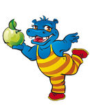 Hippo with apple. Little hippo is dancing with apple Stock Photo