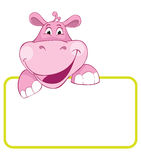 Hippo. Baby animal banner. Baby animal banner. Hippo. Cartoon label Stock Image