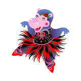 Hippo Ballerina. Dancing hippo Ballerina. vector illustration Royalty Free Stock Photo