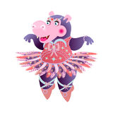 Hippo Ballerina. Dancing hippo Ballerina. vector illustration Stock Images