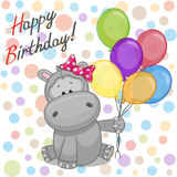 Hippo with balloons Royalty Free Stock Photography
