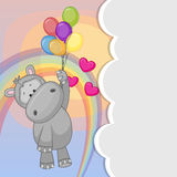 Hippo with balloons Stock Image