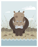 Hippo on the banks of a river. In editable vector file Stock Photo