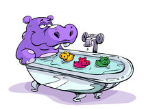 Hippo Bath. Cartoon illustration of a cute hippo having bath in a bathtub, isolated on white background Royalty Free Stock Photos