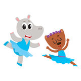 Hippo and bear, puppy and kitten characters dancing ballet together. Cute little hippo and bear puppy and kitten characters dancing ballet together, cartoon Royalty Free Stock Images