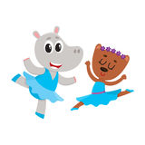 Hippo and bear, puppy and kitten characters dancing ballet together. Cute little hippo and bear puppy and kitten characters dancing ballet together, cartoon Royalty Free Stock Photography