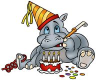 Hippo and Birthday Cake. Detailed colored illustration as Stock Images