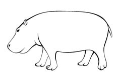 Hippo black white isolated illustration Stock Photos