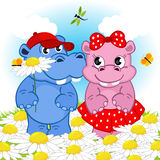 Hippo boy gives flower girl. Vector illustration, eps Royalty Free Stock Photography