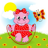 Hippo and butterfly jumping rope Stock Image