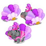Hippo cabaret dancer in pink stage costume Stock Image