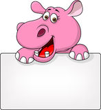 Hippo cartoon with blank sign Stock Image