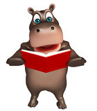 Hippo cartoon character with book Royalty Free Stock Photography