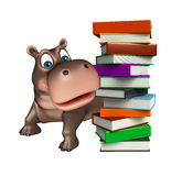 Hippo cartoon character with book Royalty Free Stock Images