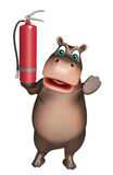 Hippo cartoon character with fire  extinguisher. 3d rendered illustration of Hippo cartoon character with fire  extinguisher Stock Photography