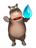 Hippo cartoon character with water drop Stock Photo