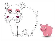 Hippo Cartoon Connect the dots and color. Vector Royalty Free Stock Photos