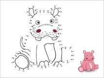 Hippo Cartoon Connect the dots and color vector illustration