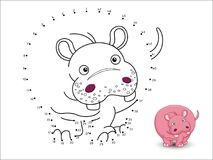 Hippo Cartoon Connect the dots and color. Vector Stock Photos