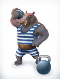 Hippo, circus athlete Royalty Free Stock Images