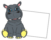 Hippo with clean banner royalty free illustration