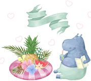 Cute Hippo watercolor clip art animal summer time Tropical text card greeting celebration relax pool water cocktail illustration f stock illustration