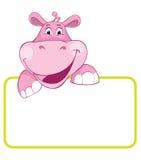 Hippo. De dierlijke banner van de baby Stock Afbeelding