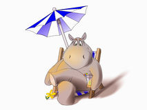 Hippo in deck chair. Illustration of a hippo sitting in a folding deck chair under an umbrella with a cocktail Stock Image