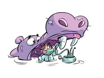 Hippo and dentist royalty free illustration