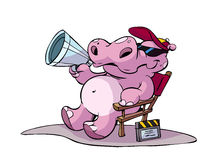 Hippo director. Illustration of a purple hippo movie director stock illustration